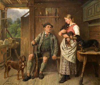 Maid huntsman and dachshund family | Adolf Eberle | oil painting