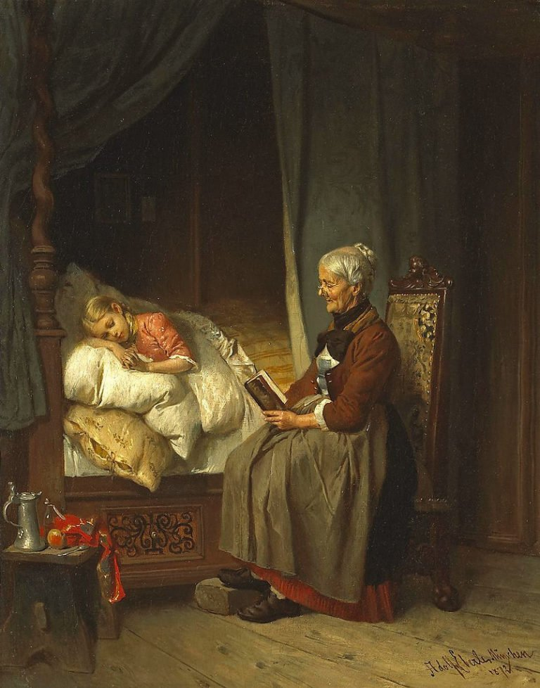 Grandmothers bedtime story | Adolf Eberle | oil painting