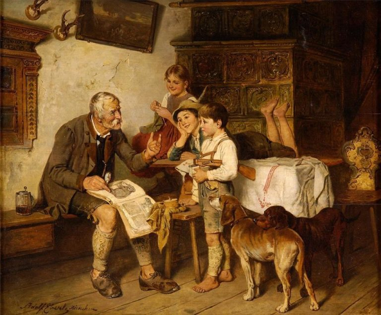 The Natural History Lesson | Adolf Eberle | oil painting