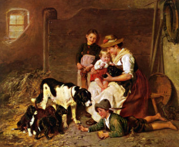 The New Puppies | Adolf Eberle | oil painting