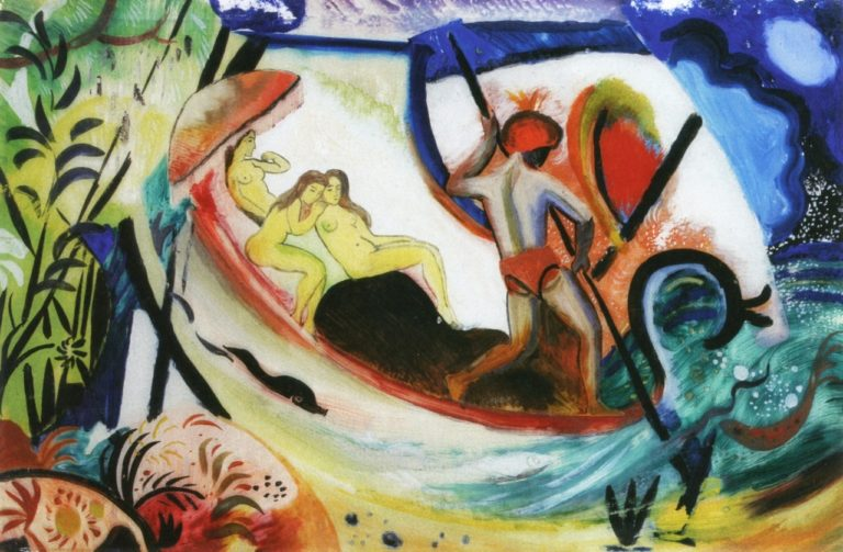 Three Girls in a Barque | August Macke | oil painting