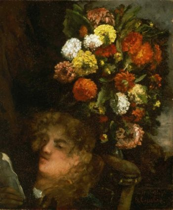 Head of a Woman and Flowers | Gustave Courbet | oil painting