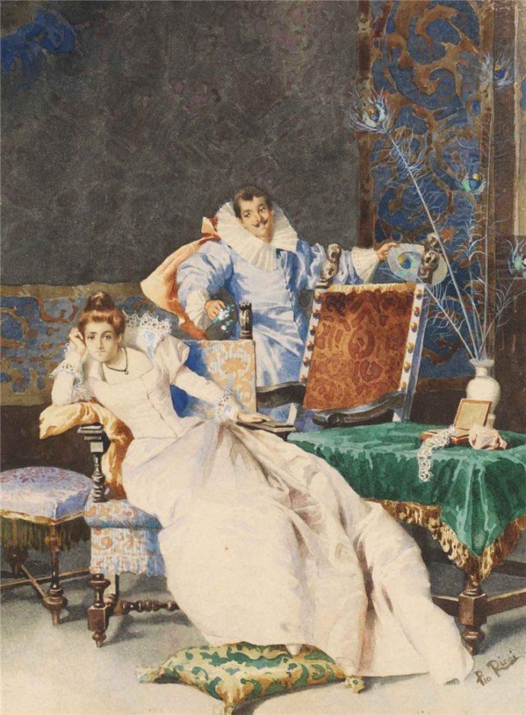 Elegant Couple In Interior | Pio Ricci | oil painting