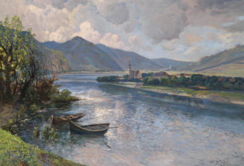 Landscape in the Wachau with View of Mautern | Karl Vikas | oil painting