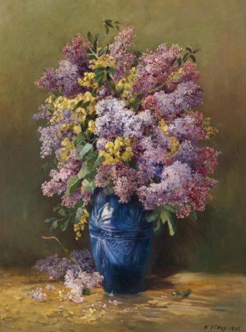 Lilacs in Blue Vase | Karl Vikas | oil painting