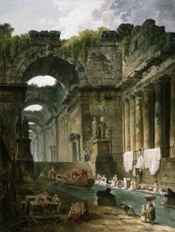 Ruins of a Roman Bath with Washerwomen   Hubert Robert   oil painting