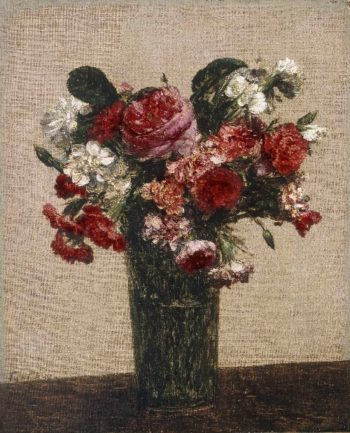 Still Life with Roses and Asters in a Glass | Ignace-Henri-Jean-Theodore Fantin-Latour | oil painting