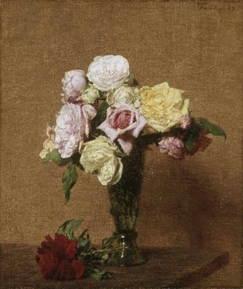 Still Life with Roses in a Fluted Vase | Ignace-Henri-Jean-Theodore Fantin-Latour | oil painting