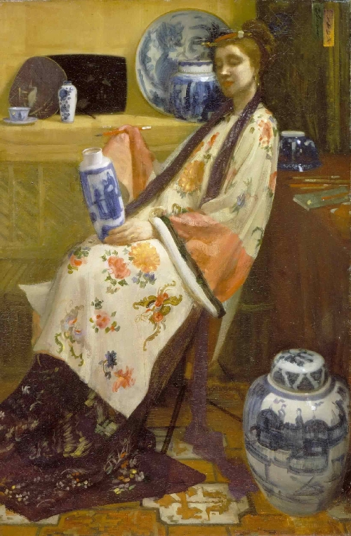 The Lady of the Lang Lijsen | James Abbott McNeill Whistler | oil painting