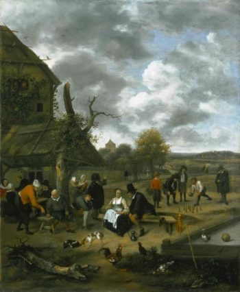Landscape with an Inn and Skittles | Jan Steen | oil painting