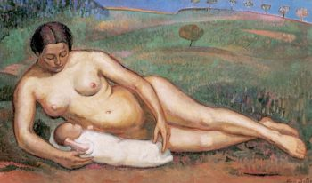 Female Nude with Her Child | Alice Bailly | oil painting