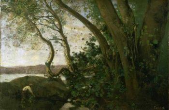 Edge of Lake Nemi | Jean-Baptiste-Camille Corot | oil painting