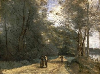 Wooded Path near Ville dAvray | Jean-Baptiste-Camille Corot | oil painting