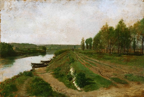 The Seine at Poissy   Jean-Louis-Ernest Meissonier   oil painting