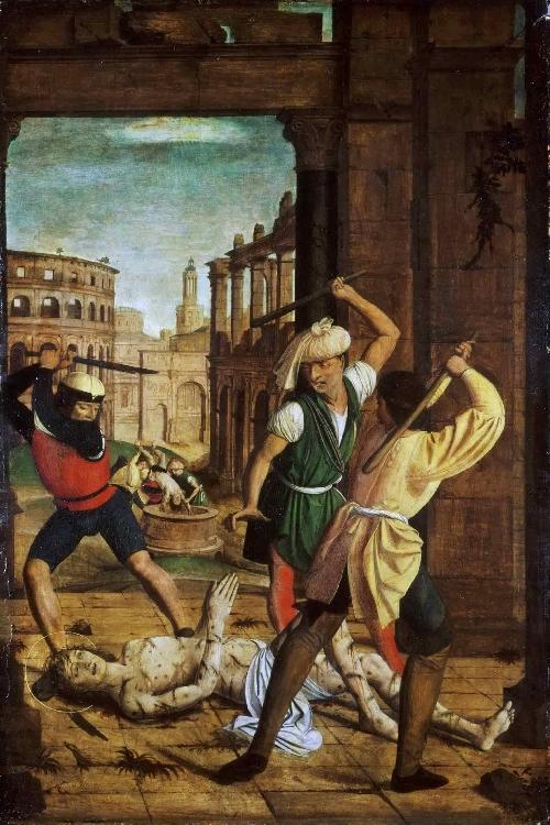 The Martyrdom of Saint Sebastian   Josse Lieferinxe   oil painting