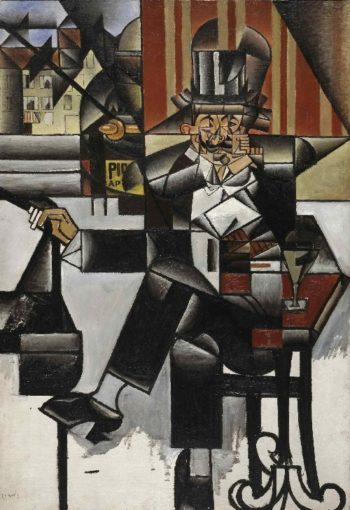 Man in a Cafe | Juan Gris (Jose Victoriano Gonzalez Perez) | oil painting
