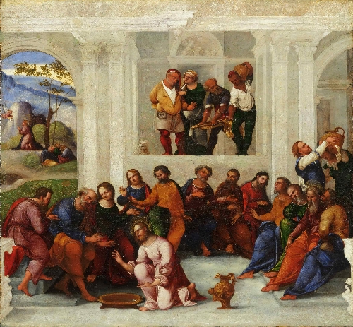 Christ Washing the Feet of the Disciples | Lodovico Mazzolino | oil painting
