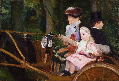 A Woman and a Girl Driving | Mary Stevenson Cassatt | oil painting