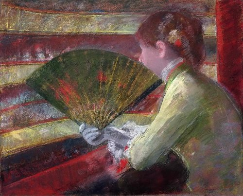 In the Loge | Mary Stevenson Cassatt | oil painting