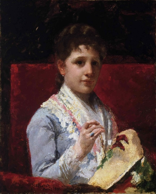 Mary Ellison Embroidering | Mary Stevenson Cassatt | oil painting