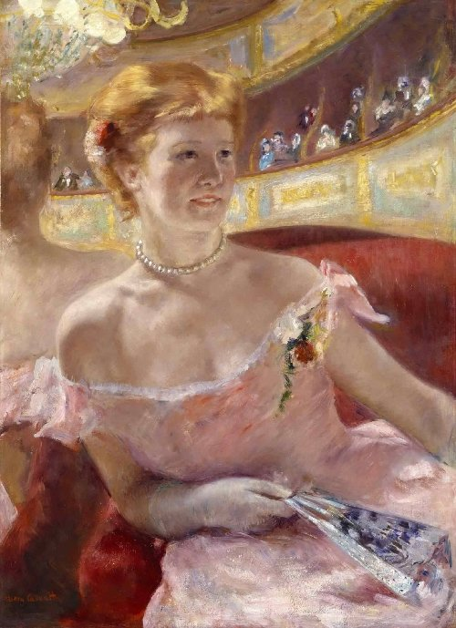 Woman with a Pearl Necklace in a Loge | Mary Stevenson Cassatt | oil painting