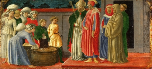 aints Justus and Clement Multiplying Grain | Master of the Castello Nativity | oil painting