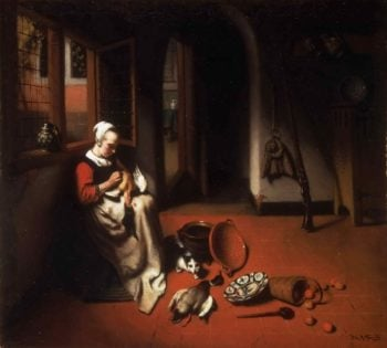 Woman Plucking a Duck | Nicolaes Maes | oil painting