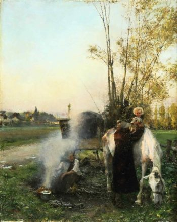 Gypsy Scene | Pascal-Adolphe-Jean Dagnan-Bouveret | oil painting