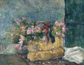 Still Life with Moss Roses in a Basket | Paul Gauguin | oil painting