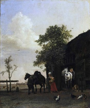 Figures with Horses by a Stable | Paulus Potter | oil painting