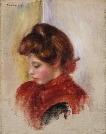 Girl in a Red Scarf   Pierre-Auguste Renoir   oil painting