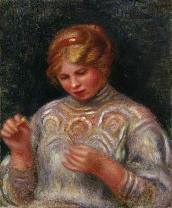 Girl Tatting   Pierre-Auguste Renoir   oil painting