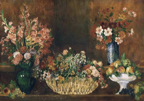 Still Life with Flowers and Fruit   Pierre-Auguste Renoir   oil painting