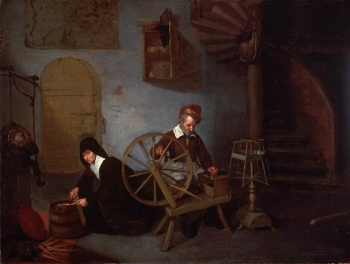 A Wool Spinner and His Wife | Quirijn Gerritsz van Brekelenkam | oil painting