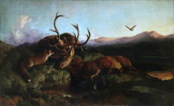 Morning (Two Dead Stags and a Fox) | Sir Edwin Landseer | oil painting