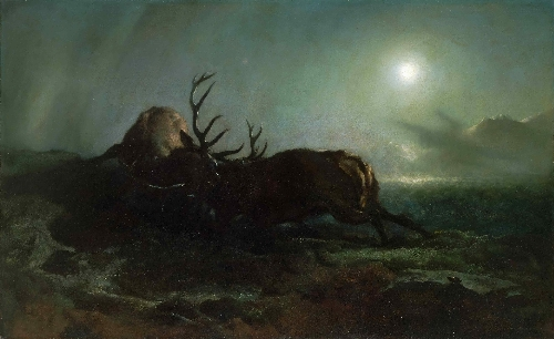 Night (Two Stags Battling by Moonlight) | Sir Edwin Landseer | oil painting