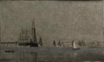 Ships and Sailboats on the Delaware | Thomas Eakins | oil painting