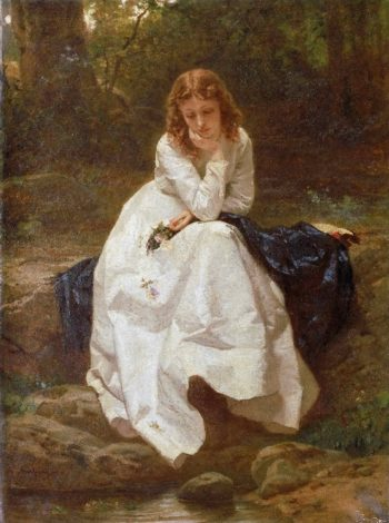 Young Woman Seated by a Stream | Wilhelm Amberg | oil painting