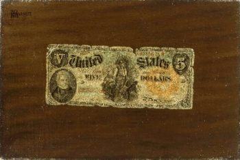 Still Life--Five-Dollar Bill | William Michael Harnett | oil painting