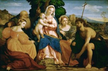 The Virgin Mary with Child and Saints Catherine and Coelestin John the Baptist and Barbara | Jacopo Palma il vecchio | oil painting