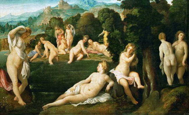 Bathing Nymphs | Jacopo Palma il vecchio | oil painting