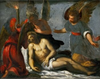 Dead Christ mourned by angels | Jacopo Palma il giovane | oil painting
