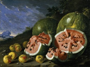 Still Life with Watermelons and Apples in a Landscape | Luis Melendez | oil painting