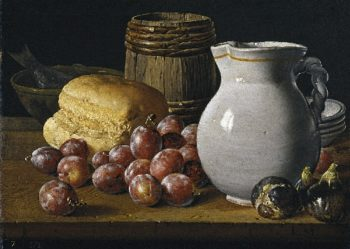 Still Life with Plums Figs Bread Keg Jug and Other Vessels | Luis Melendez | oil painting
