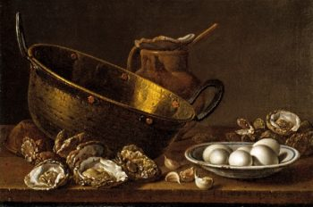Still Life with Oysters Garlic Eggs and Pots | Luis Melendez | oil painting
