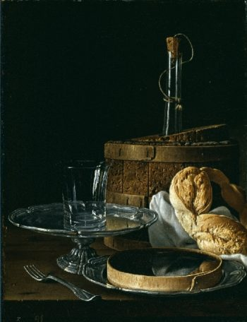 Still Life with Box Jelly Bagel Salver with Glass and Cooler | Luis Melendez | oil painting