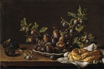 Still Life with Bowl of Plums Figs and Bagel | Luis Melendez | oil painting