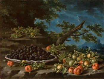 Still Life with a Bowl of Berries Acerola Cherries and Hazelnuts in a Landscape | Luis Melendez | oil painting