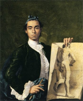 Self Portrait Holding an Academic Study | Luis Melendez | oil painting