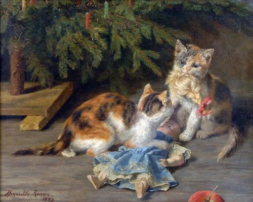 The Christmas Spat | Henriette Ronner Knip | oil painting